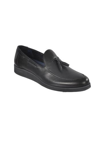 Luciano Bellini Hakiki Deri E1302 Siyah Erkek Günlük Ayakkabı Siyah